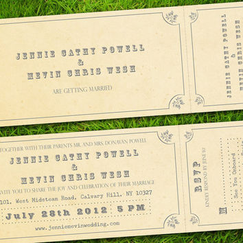 Vintage Rustic Classic Train Ticket Customizable Wedding Invitation and RSVP Card Suite - DIY Printable