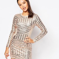 Missguided Sequin And Mesh Bodycon Dress at asos.com