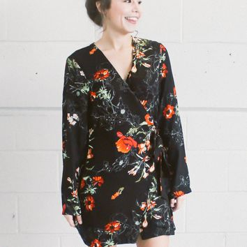 Funky Flora Wrap Shirt Dress