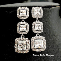 Bridal Earrings Wedding Jewelry CZ Prom - Vivian Feiler Designs | Wedding Jewelry | Bridal Jewelry