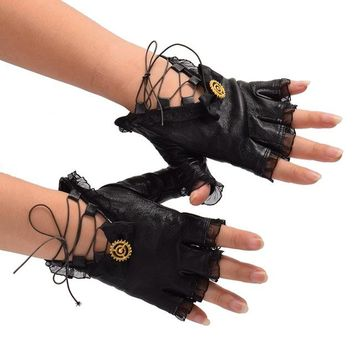 1pair Black PU Lace-up Bow Gloves Vintage Lolita Steampunk Gear Gloves