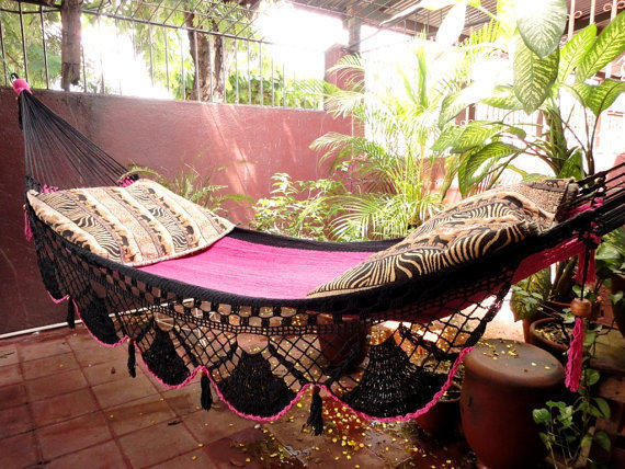 Beautiful Two Colors Single Hammock handwoven Natural by hamanica
