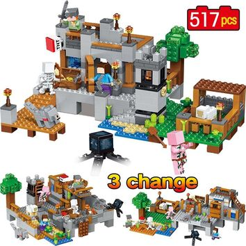 My World Model Building Blocks Bricks Compatible Legoingly Minecraft Harbor Wharf Zombie Mini Sets Figures Toys Christmas Gift