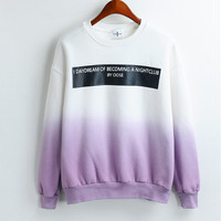 Ombre Letter Print Hoodie