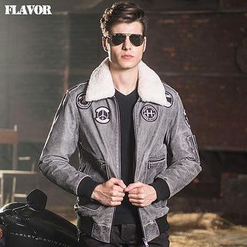 Men's air force flight jackets real leather jacket denim Genuine Leather jacket men leather coat padding cotton