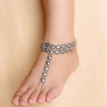 New Design Gypsy Antique Silver Hollow Flower Turkish Coin Anklet Bracelet Beach Foot Jewelry (Color: Silver) = 5658259073