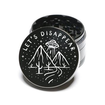 Laser Engraved Herb Grinder - Let's Disappear Aliens UFO Art Design 4 Piece Aluminum Grinder GW148