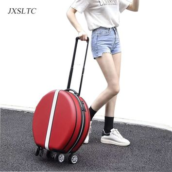 Women's cute round handbag and Trolley suitcase Carry On Luggage Rolling Luggage Trolley Suitcase girl hard case suitcase travel