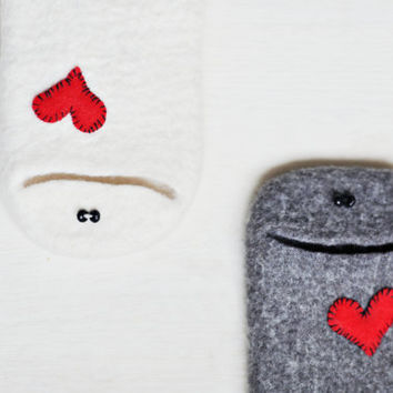 Made to order - Samsung Galaxy S4 phone case - Handmade natural Galaxy S4 case with red heart - Gray Samsung case - Best friend gift funny