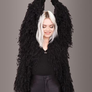 Fab Fringe Black Shaggy Open Jacket
