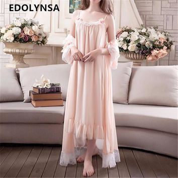 New Arrivals Lace Nightgown Robes Set Bathrobe Sets Sexy Nightdress Bridesmaid Robes Set Peignoir Wedding Robe Sets #H175