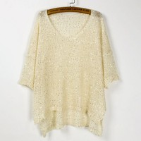 A 072915 bat sleeve sequined pullover sweater