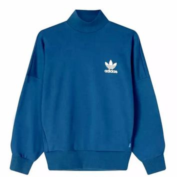Adidas clover tall collar sweater sports leisure loose clothing woman