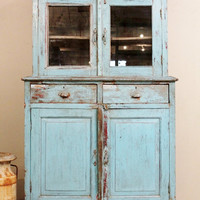 Antique Kitchen Cupboard Storage Cabinet Armoire Indian  Blue Farm Chic Warm Industrial