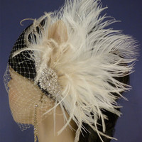 Bridal Fascinator Bridal Feather Fascinator by DARKandDIVINE