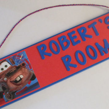 Cars Tow Mater Personalized Room Decor Sign   Cars Name Sign   Cars Boys Room  Decor. Cars Tow Mater Personalized Room Decor from JustForYou22