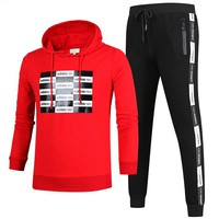 ADIDAS autumn and winter new round neck pullover plus velvet running trousers sports two-piece Red