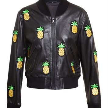Leather Bomber Jacket with Pineapple Patches - LOVE LEATHER