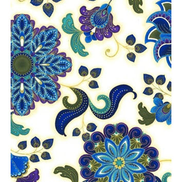 Peacock Floral, Keepsake Calico, Cotton Sewing Fabric, Quilting Material, F2010