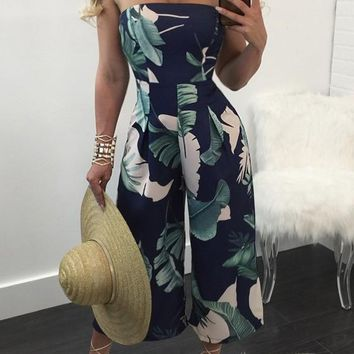 Blue-White Floral Off Shoulder Bandeau Sewing High Waisted Sexy Long Jumpsuit