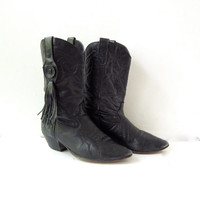 vintage 80s leather cowboy boots / black fringed boots / cowgirl boots / distressed boots