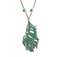Verdigris Peacock Feather Necklace