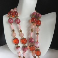 Pink Confetti Necklace, Vintage Chunky Lucite Boho Necklace