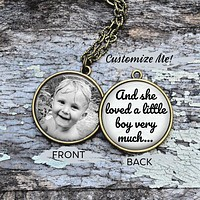 Personalized Photo Pendant - And She Loved a Little Boy, Boy Mom Necklace, Nephew Necklace