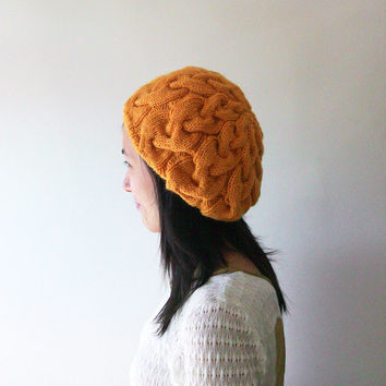 Hand Knitted Cable Slouch Hat in Mustard Yellow - Seamless Hat - Wool Blend - Winter Hat