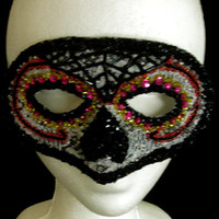 Hand Beaded Sugar Skull Mask, One of a Kind Halloween and Day of the Dead Handmade Lace Masquerade Mask, Free US Shipping