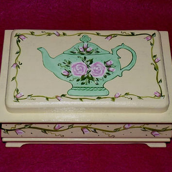 Decorative Wood Tea Box Wood Tea Chest Organizer Hand Painted Wood Box Personalized Custom Victorian Tea Pot Roses
