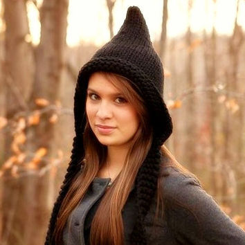 10% Off - Hand Knit Hat Womens Hat - Pixie Hat in Black - Back To School Fall Fashion Autumn Fashion