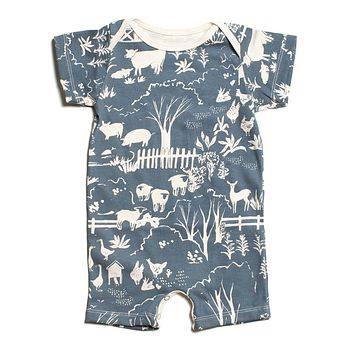 "Blue ""Farm Next Door"" Organic Romper by Winter Water Factory"