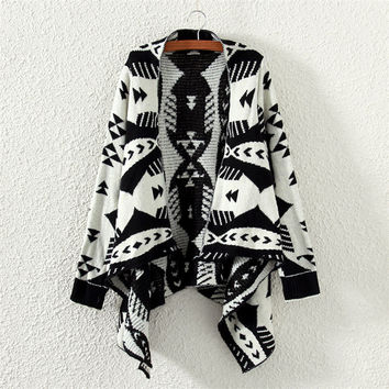 Women Aztec Tribal Geometric Waterfall Open Front Blanket Wrap Cardigan Sweater