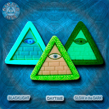 EyeGloArts GLOW in the dark jewelry Illuminati all seeing eye pyramid pendant clubwear blacklight Psytrance rave candy