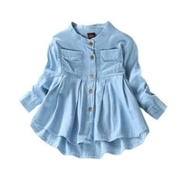 Autum Fashion Baby Girls Jeans Shirts Children Long Sleeve Denim Girl Jean Blouses Clothing