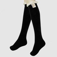 Delicate Buttons & Lace Ruffled Knee High Boot Socks - Black