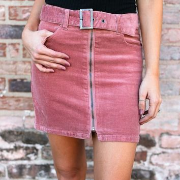 Basically Belted Zip Up Mini Skirt in Rose Corduroy