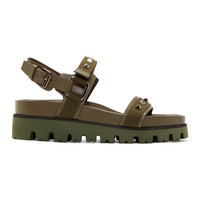 Olive Leather & Canvas Sandals