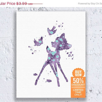 Bambi Art Disney Print Bambi Friends Bambi Print Watercolor Printable Art Disney Nursery Disney Wall Art Digital Download Art