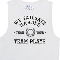 We Tailgate Harder-Female Snow T-Shirt