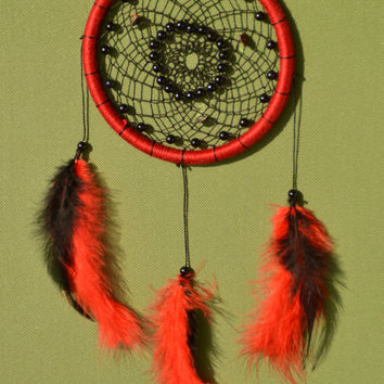 Red-Black Dreamcatcher with Blue Sandstone and plastic beads, wall hanging
