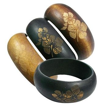 Hibiscus Engraved Wooden Arm Bangle