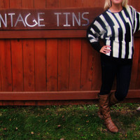 vintage soft anqora blend striped geometric sweater.
