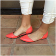 Grapefruit Doll Point Toe Flats - CORAL