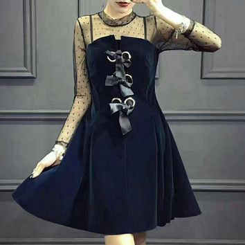 """Chanel"" Women Temperament Fashion Velvet Stitching Perspective Gauze Long Sleeve Mini Dress"