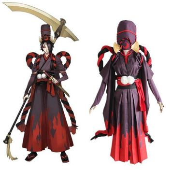 ESBON Onmyoji Cosplay Reaper Black Meikai No Yakujin Satin Japanese Kimono Uwowo Shikigami Black Red Uniform Halloween Costume