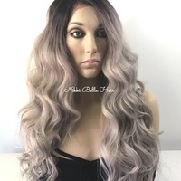 "Cool Icy Ashy Blonde Balayage Human Hair Blend Multi Parting Ombré 4x4 SILK BASE Lace front wig 24"" 5172"