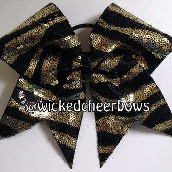Cheer Bow - Black & Gold Zebra Sequins