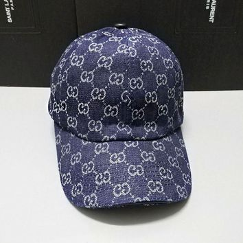 GUCCI Fashionable Women Men Sports Sun Hat Baseball Cap Hat Blue